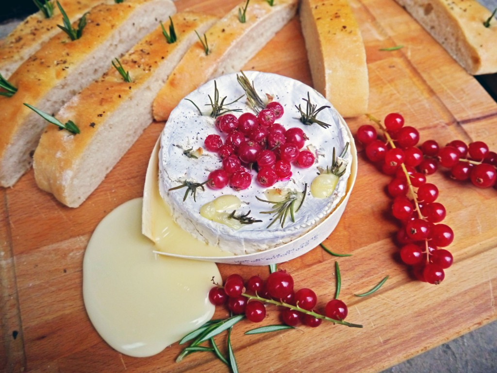 Baked Camembert (Redcurrants, Rosemary & Garlic) with Focaccia